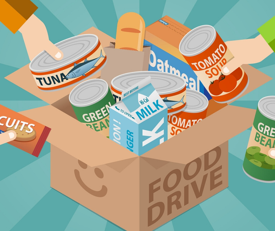 food drive graphic showing donated cans of food in a box