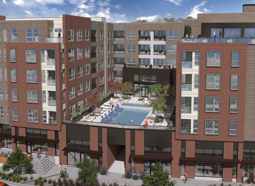 View of The Richmond elevated pool deck surrounded by apartments