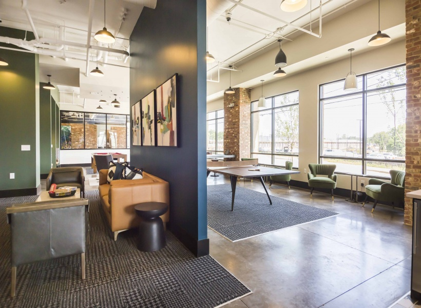 Lighting, Windows with Seating, and Ping Pong at Alexan Optimist Park Apartments