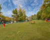 View of Retreat at River Park Apartments Dog Park Showing Grass with Pet Playground Items.