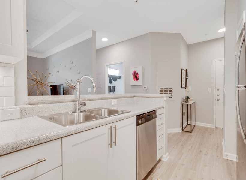 View of Renovated Apartment Kitchen Interior showing Kitchen appliances and counter at Retreat at River