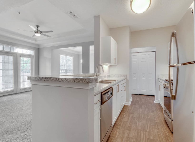 View of Renovated Apartment Interior Showing Kitchen and Living Room at Retreat at River Park Apartments