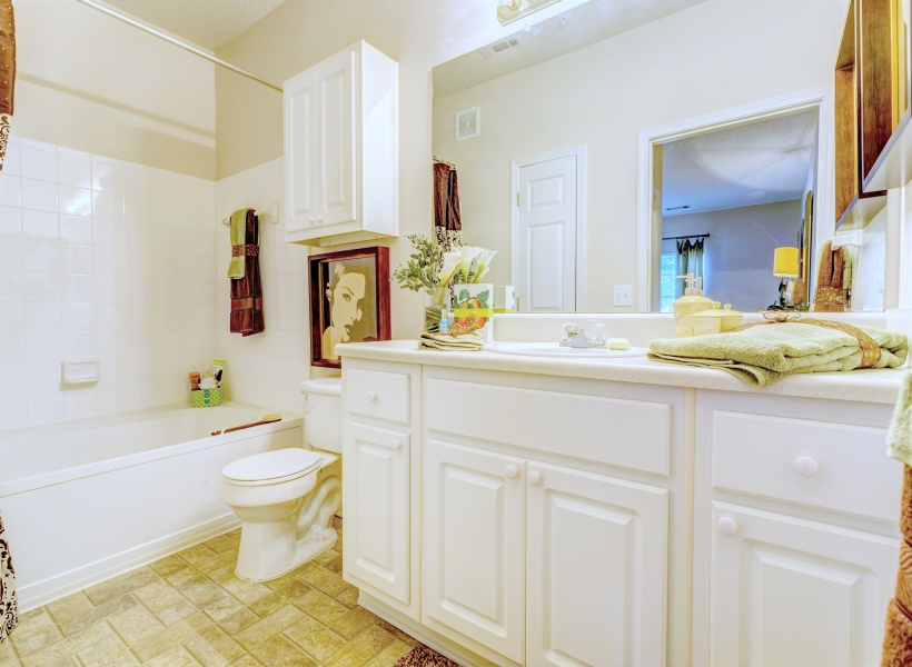 View of Bathroom, Showing Single Vanity and Garden Tub at Summer Park Apartments