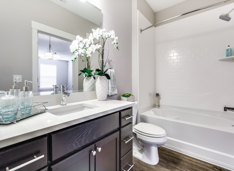 View of Bathroom, Showing Single Vanity, Medicine Cabinet, Tub With Shower at Cottonwood Reserve Apartments