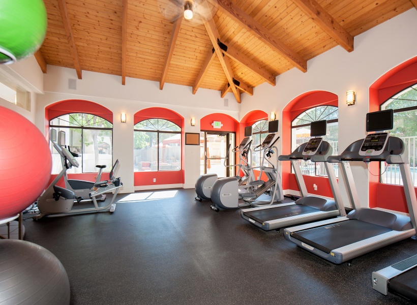 View of Pavilions Apartments Fitness Center showing exercise balls,  treadmills, and large windows to the outside