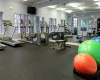Cason Estates Apartments Fitness Center showing medicine balls, cardio machines, and mirrors.