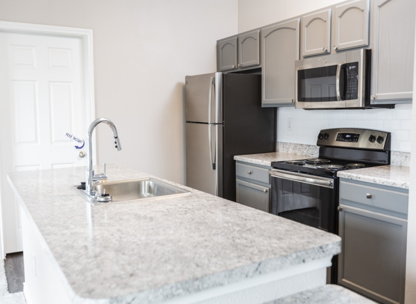 View of Renovated Apartment Interior, Showing Kitchen with Stainless Steel Appliances at Bluffs at Vista Ridge Apartments.
