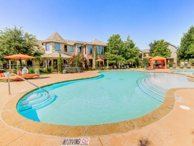 Enclave on Golden Triangle pool, expansive sundeck with cabanas