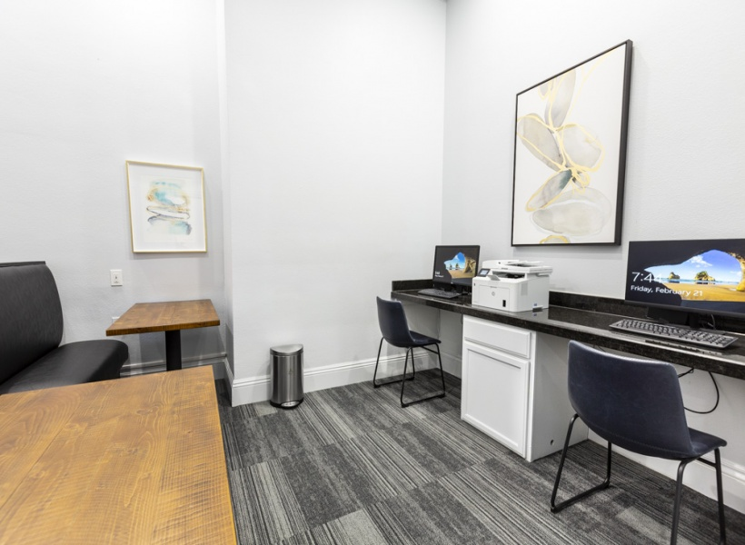 View of Renovated Business Center Showing Seating and Two Computers and Printer at Stonebriar of Frisco Apartments.