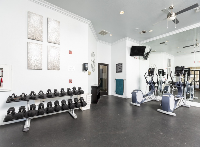 View of Renovated Fitness Center Showing Weights and Cardio Machines at Stonebriar of Frisco Apartments