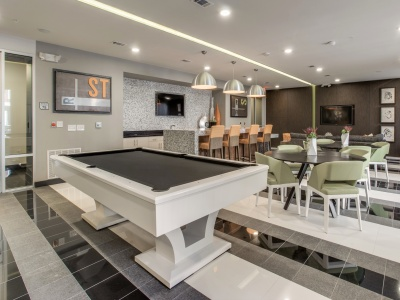 Routh Street Flats Recreation Room with Billiards, Kitchen, and Lounge Seating