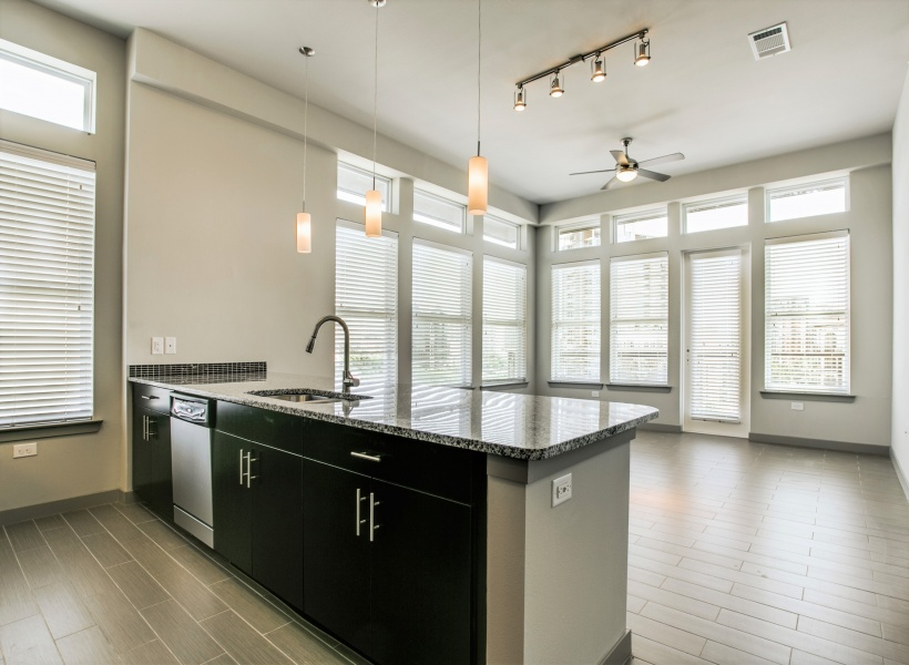 View of Kitchen, Showing Granite Countertop, Stainless Steel Appliances, and View of Living Room at Routh Street Flats Apartments