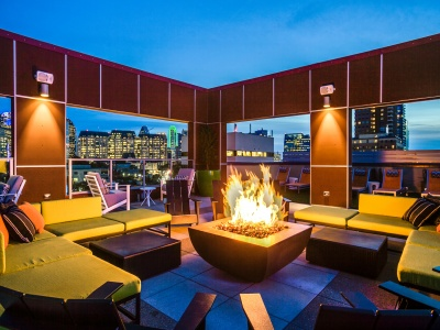 Routh Street Flats fire pit and lounge area